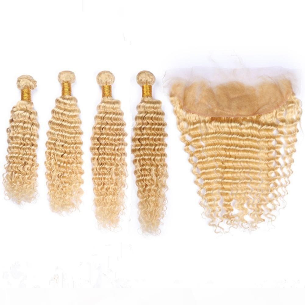Onda Profunda # 613 Loira Indiana Virgem Humana Weave Bundles 4 Pcs com Frontal Frontal Bleach Loira 13x4 Lace Frontal com Tece