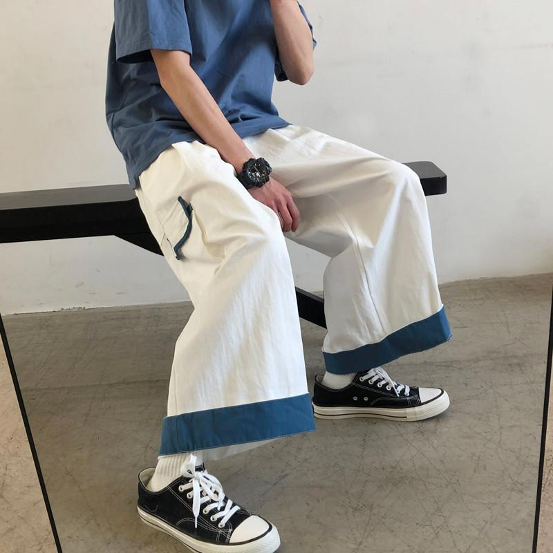 Primavera verão fino workwear pants de perna larga moda coreana de homens solta capris reto e na moda casual pantsd0n7