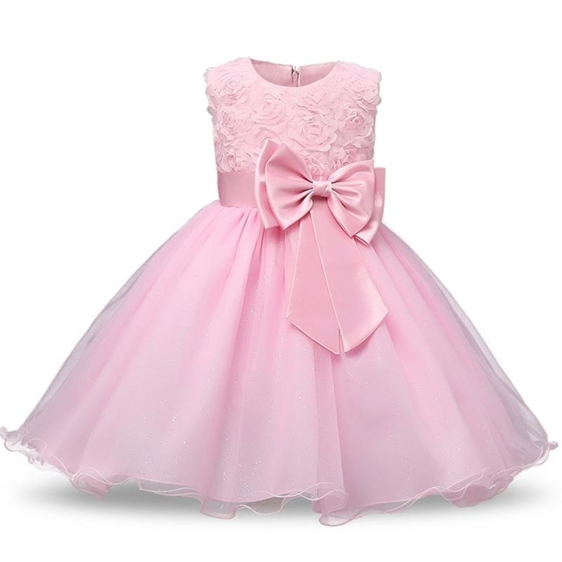 Flower Girl Birthday Party Dress Girls Clothes Children's Fancy Princess kids Dresses Floral Printing Pink Cute Summer Dress 210427
