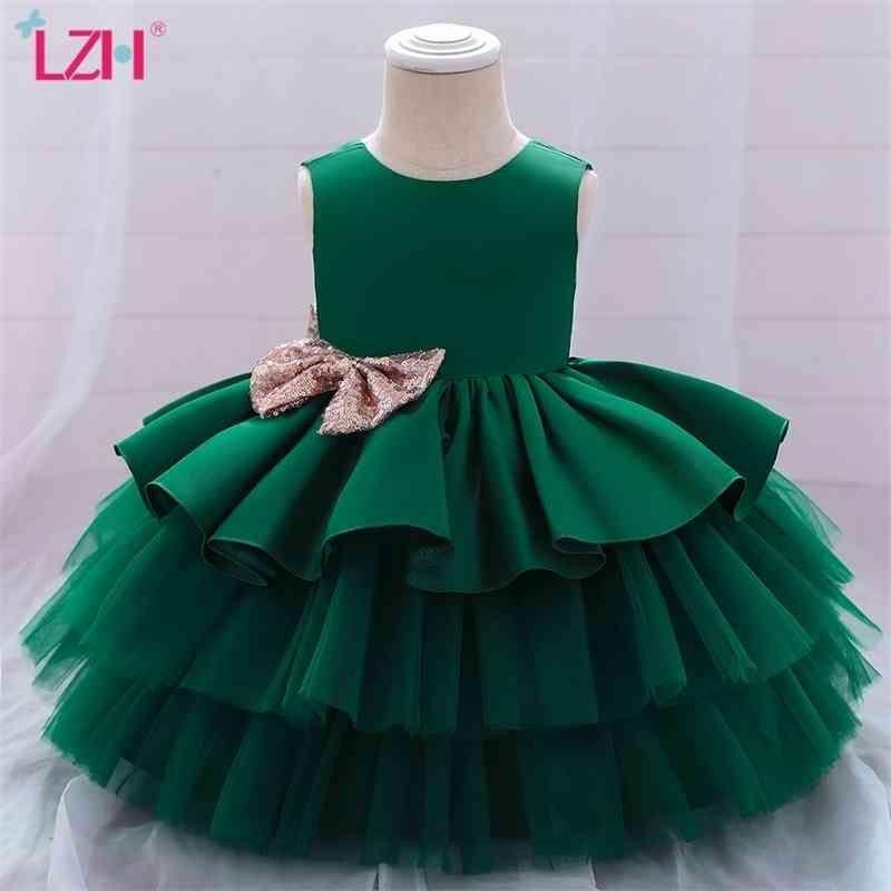 LZH 2021 Baby Girls Princess Sleeveless Bow Christmas Fashion Wedding Flower Girl Dress Sweet Newborn Clothe 210317
