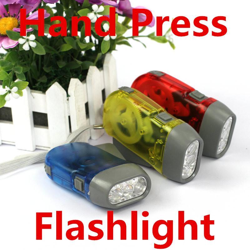 Lanterna de emergência Mão Press Lanternas Mini Tocha No Bateria 3 LED Manual Caminhada Camping Ambiente Amigável Crianças Crianças Crianças Presente Kid