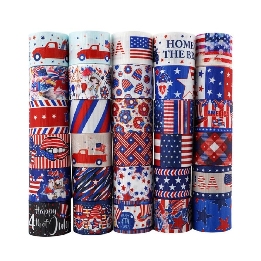 American Unabhängigkeitstag Ribbon 4. Juli Geschenkpaket Ribbon USA Patriotisches DIY Haar-Zubehör 22mm / 10 Yards A Roll GGA4317