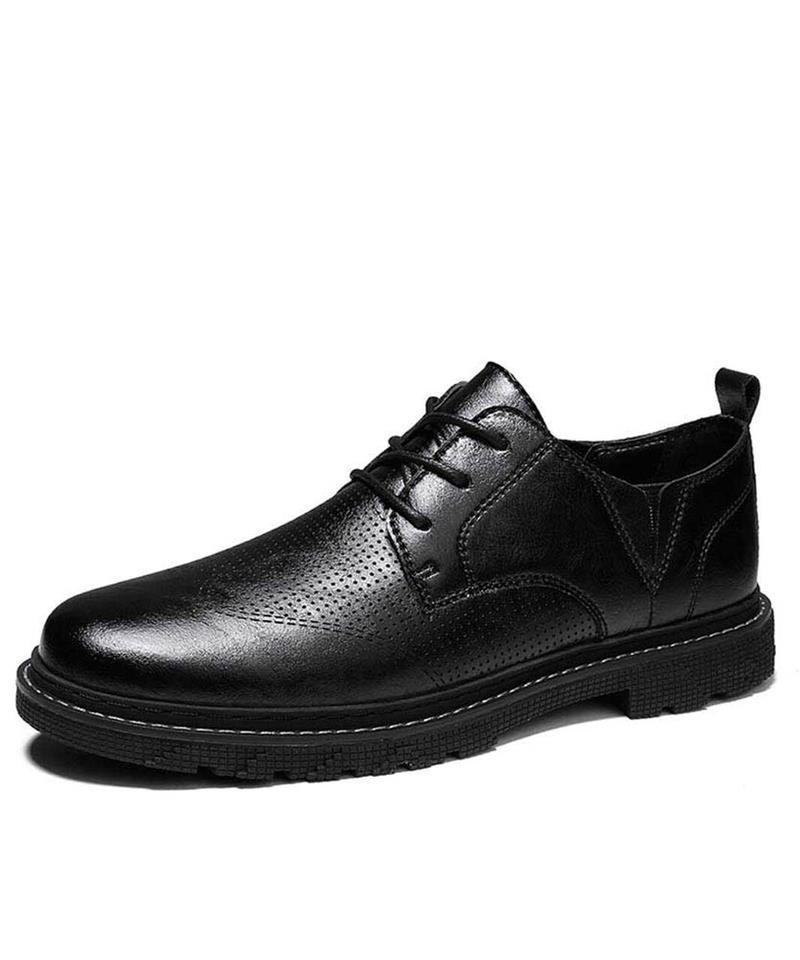 Homens artesanais PU clássico preto rodada dedo do pé de pés dedo-up Derby sapatos baixo calcanhar confortável moda all-match business casuall 5ke011 vestido