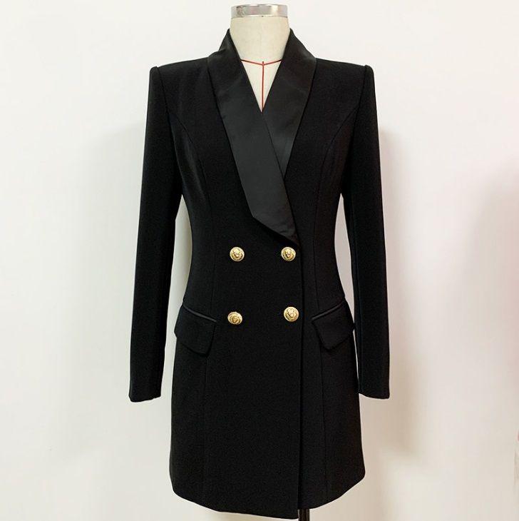 Высочайшее качество оригинальный дизайн женские рабочие платья металлические пряжки двубортные тонкие шали воротник охладистый стиль обратно молния два цвета черный белый карьерный костюм