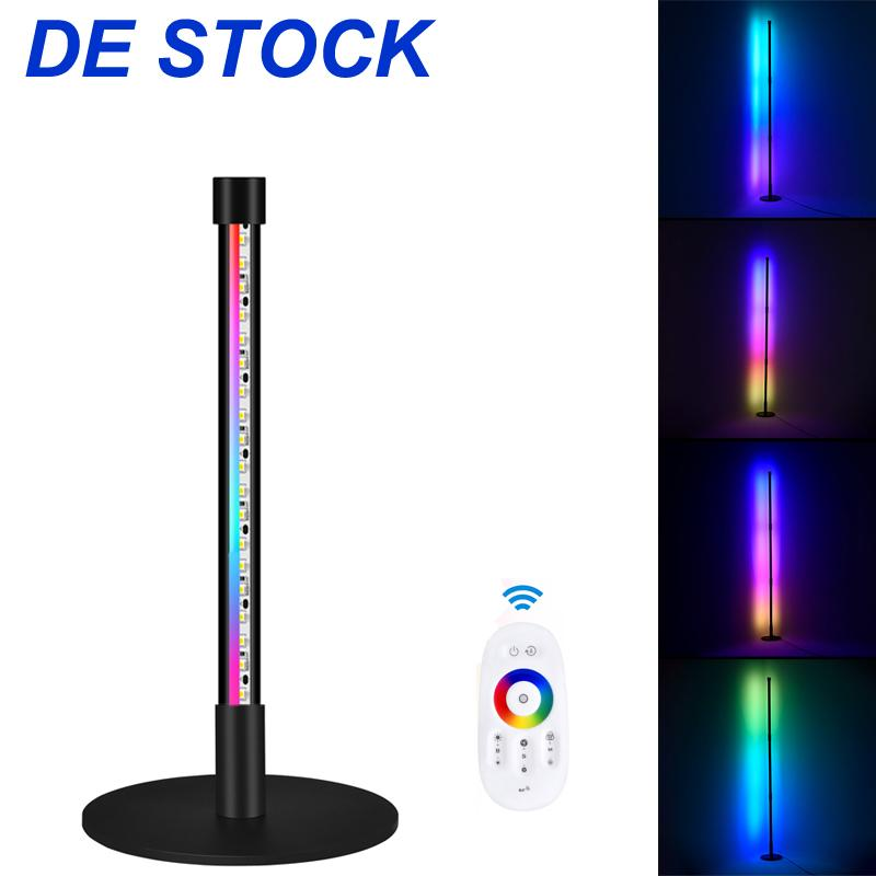 """드 스톡 코너 램프 RGB 색상 변경 분위기 조명, 디 밍이 가능한 LED 현대 플로어 램프 원격, 56 """"거실, 침실 20w- 블랙에 대 한 금속 대립 램프"""