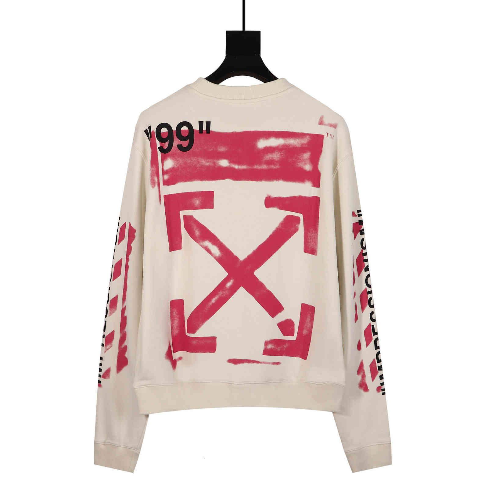 Versión correcta de OW19SS Graffiti rosa flecha 99 Set de cuello redondo Suéter