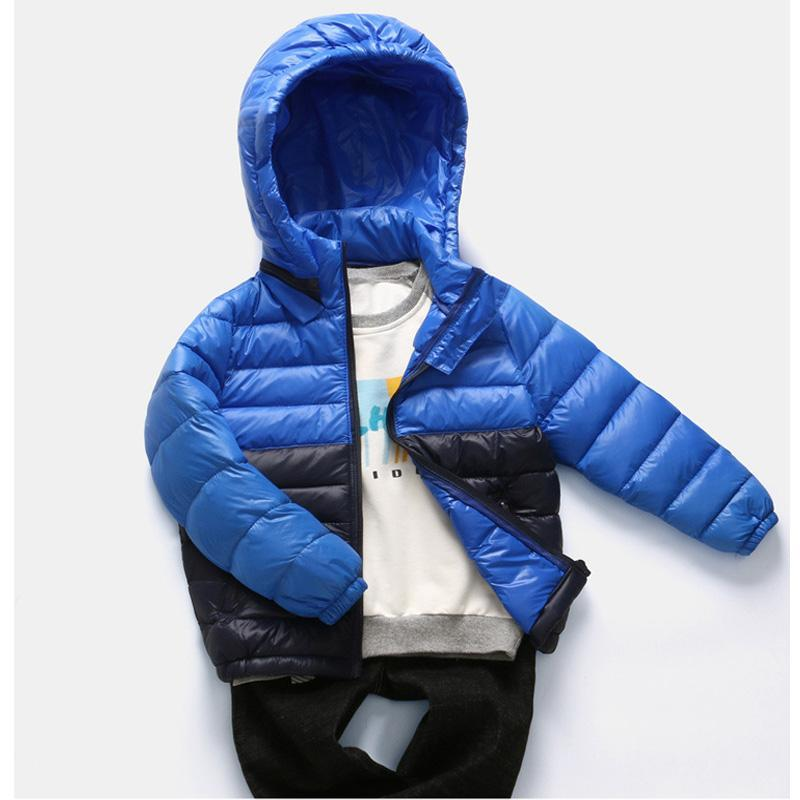 여자 재킷 파카 2021 두건을위한 패치 워크 겨울 자켓 90 % 오리 어린이 의류 소년 코트