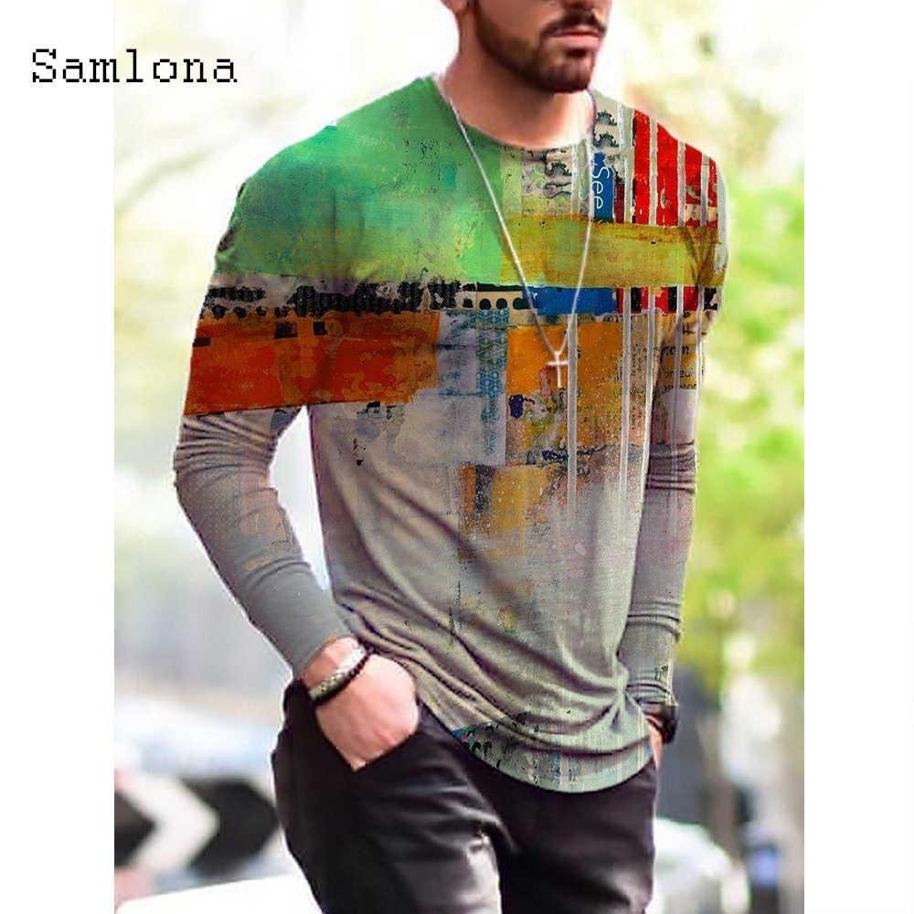 K8 T Shirts Samlona Patchwork Long MOUW MODE 3D IMPRESSION TOPS SUPÉRATION CASSAL CASSAL HOMMES Vêtements Plus Taille S-3XL