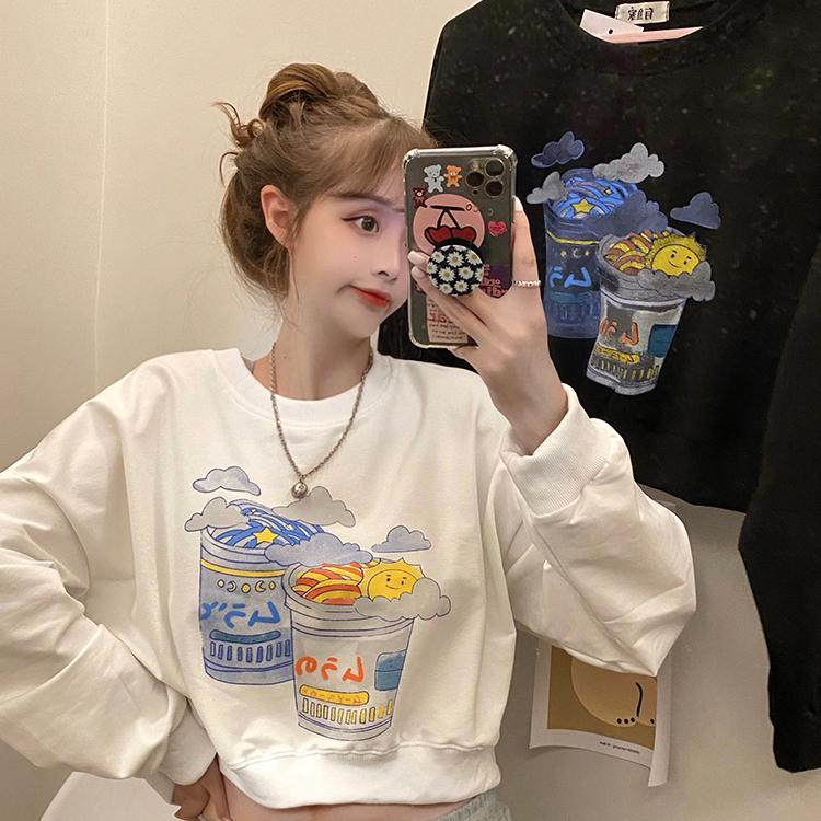 Hoodies das mulheres Moletons de moda Cópia branca Crop Top Autumn Roupa Coreana Casual Loose O-pescoço Manga Longa Pullovers
