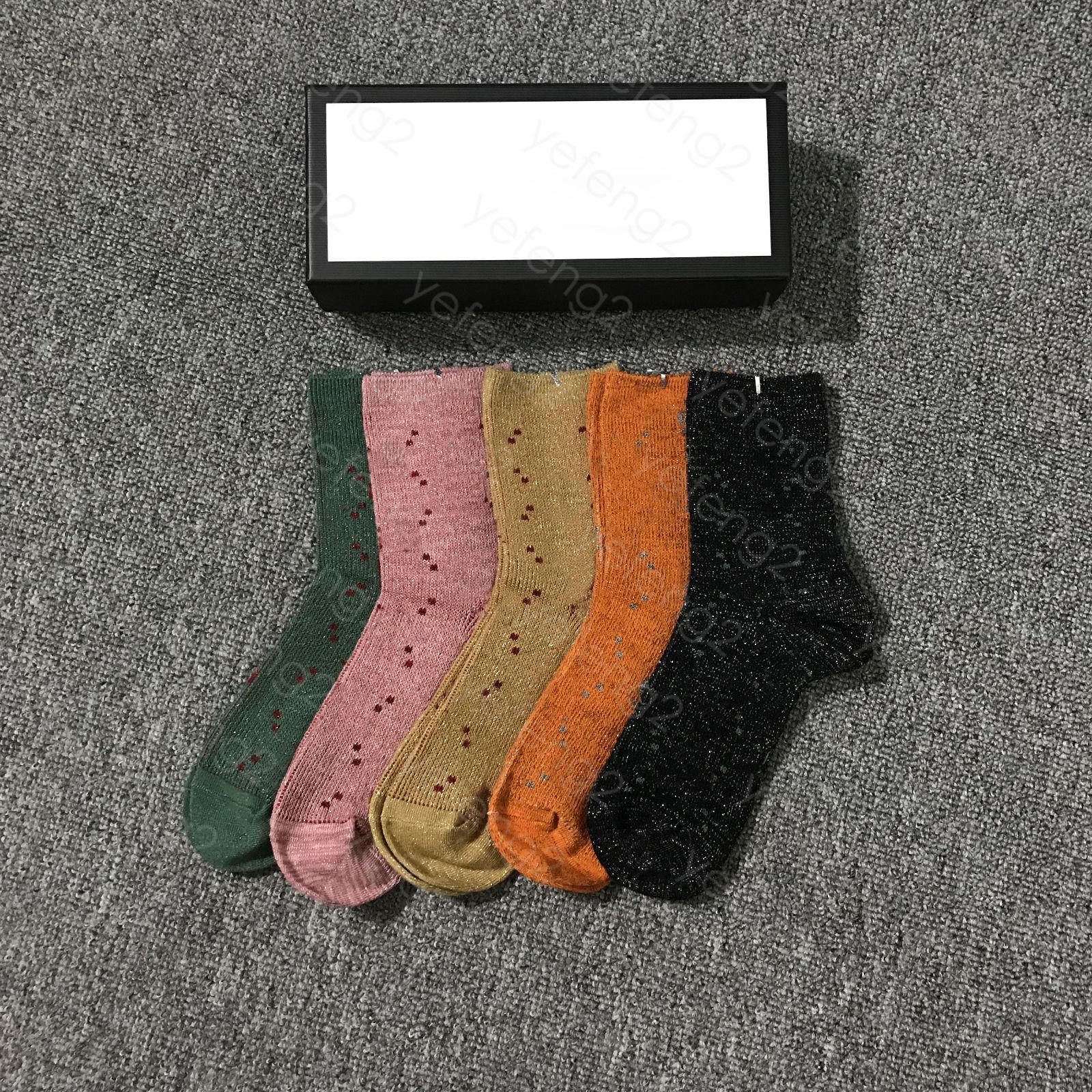 Chaussettes Femmes Classic Italie Fashion Public Port Lettre Imprimé Moyenne Chaussette Coton avec boîte Five Couche Couleur de Redom