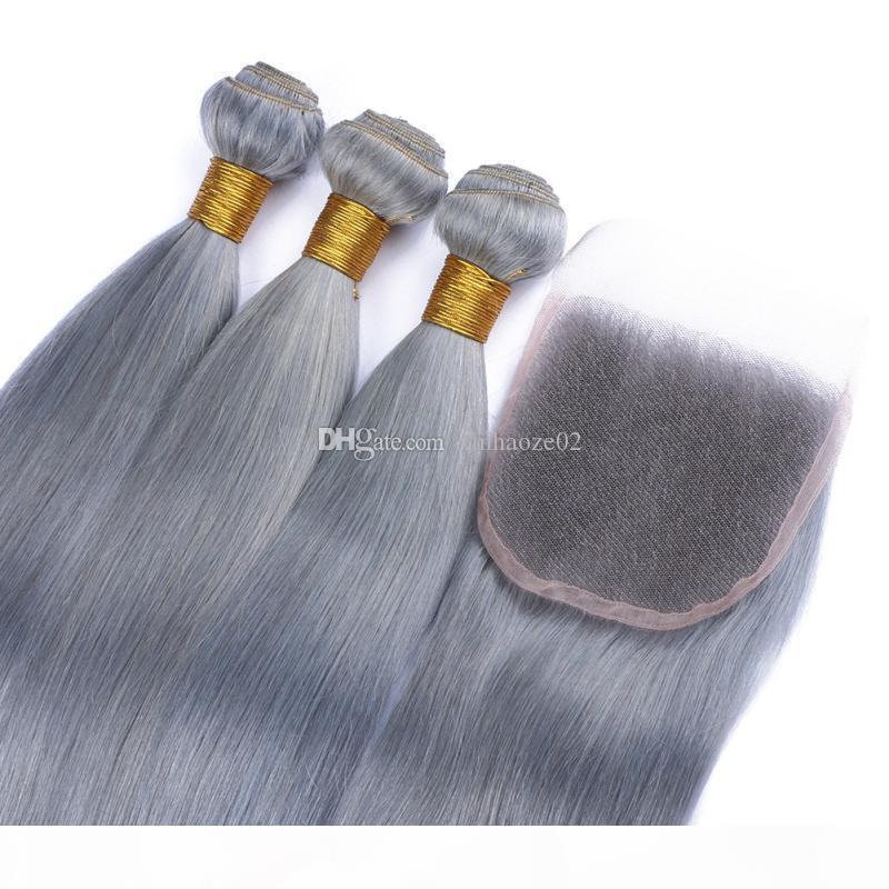 Cabelo cinzento peruano tecelagem 3 pacotes com fecho de renda prata cinza extensões de cabelo virgem com fecho puro cinza seda em linha reta