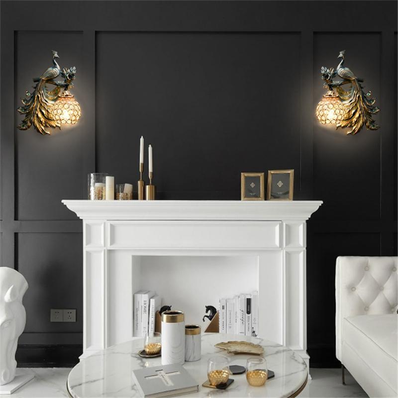 الجدار مصباح الأمريكية الرجعية الطاووس الحديثة الإضاءة المنزل الراتنج ديكور ضوء نوم السرير الممر الممر الشمعدان