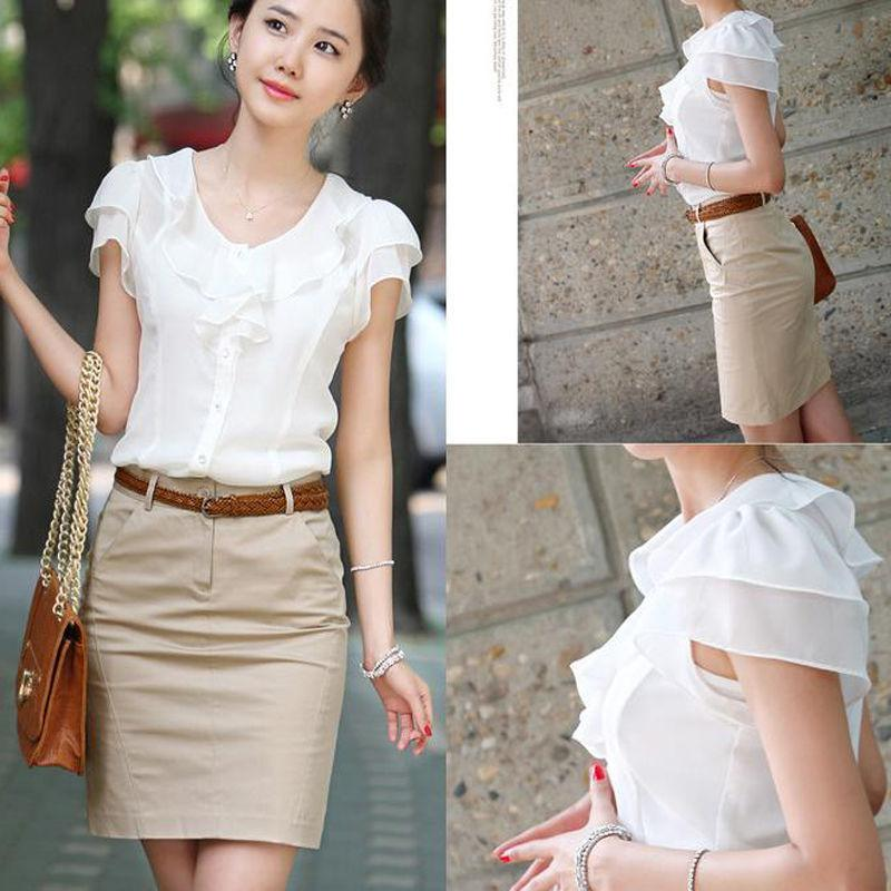 Женская рубашка Летний белый с коротким рукавом женские рюшины тонкий и универсальный верхний рубашка в чужой стиле 8 S-5XL