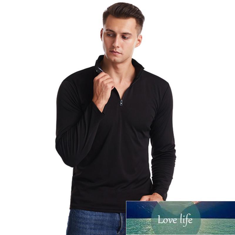 New fashion men's T-shirt V-neck long-sleeved T-shirt men Basic solid color casual fitness muscle men jogging sports T-shirt men