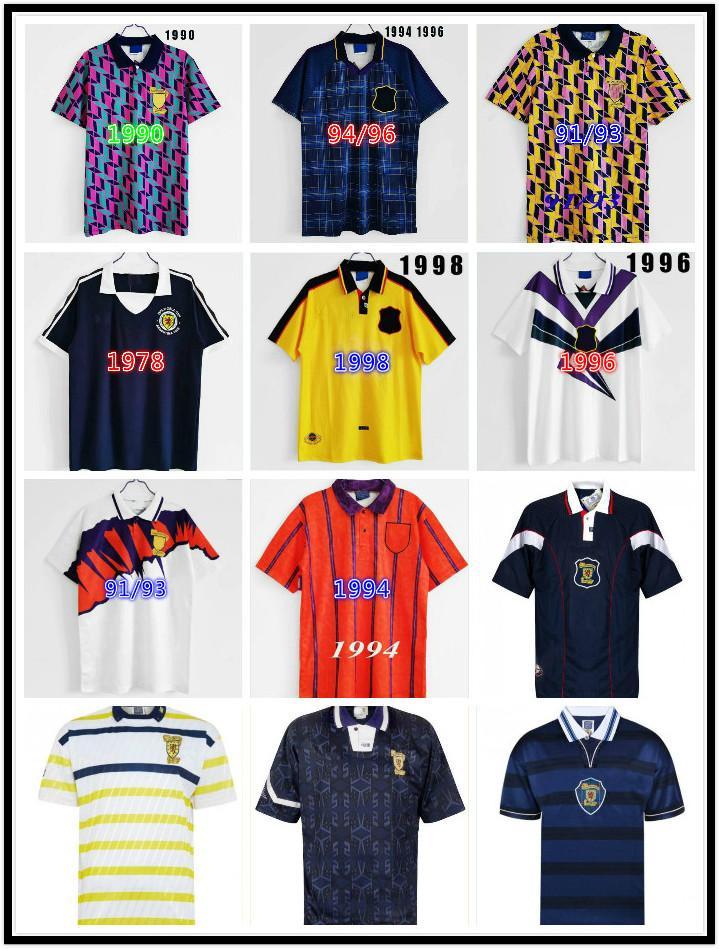 Scotland 98 Coupe du Monde Final Retro Soccer Jerseys Hommes 1996 1998 1986 1986 1997 1991 1993 1994 1995 Chemise de football classique Vintage
