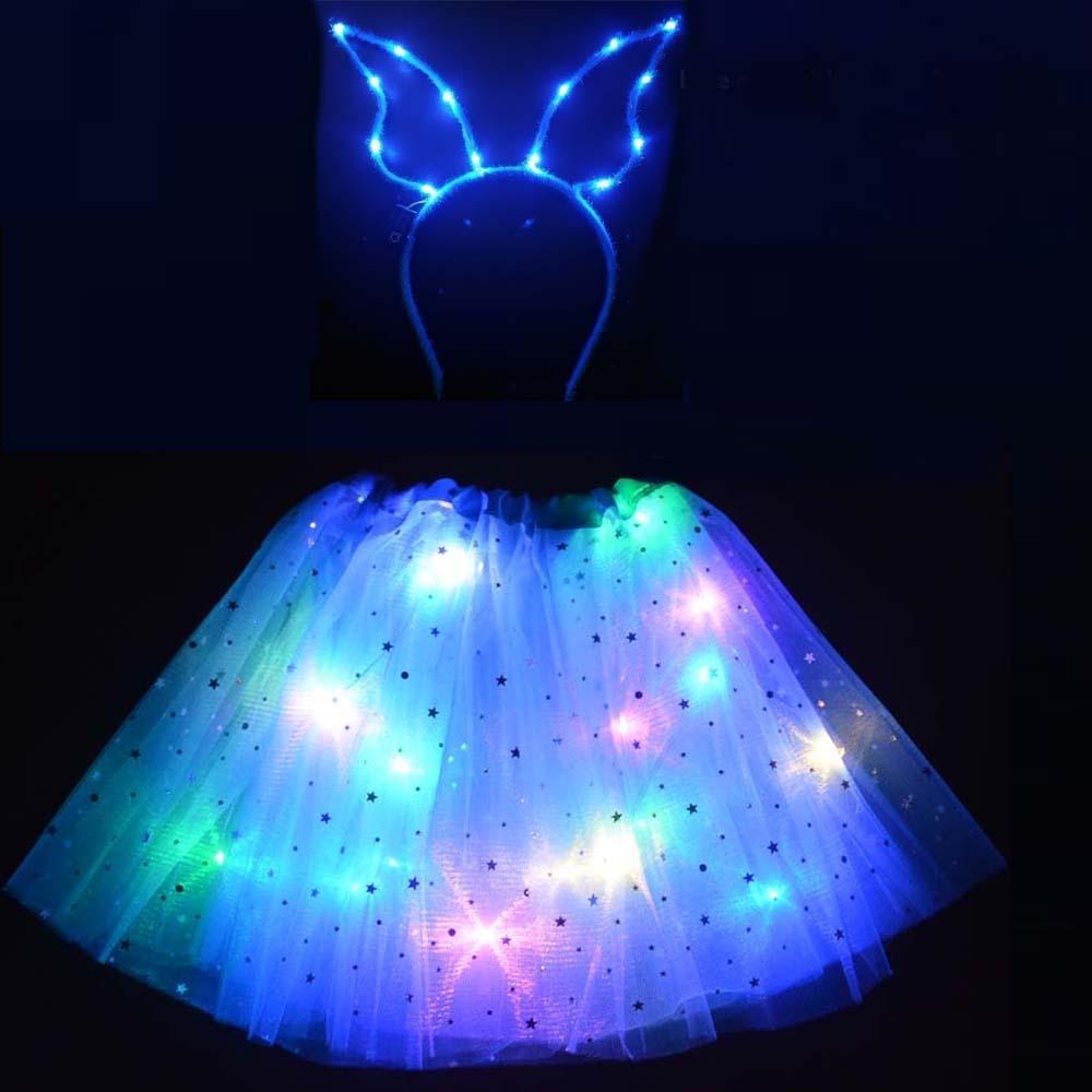 طفل الكبار الصمام الملابس ضوء النجوم توتو تنورة الأذن هيرباند توهج ملاك زي هدية الزفاف فتاة عيد ميلاد حزب هدية تنورة مصغرة