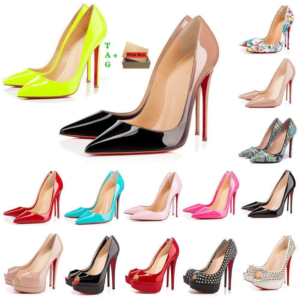 Mujer clásica fondo rojo tacones altos tacones de diseño de la marca de los temas de los altos sandalias de los pies-dedos sexy punta puntiagudo rojos suela 8 cm 10 cm 12 cm bombas luxurys womens vestido de novia zapatos desnuda negro