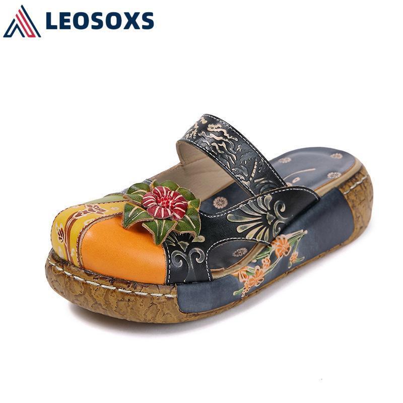 LEOSOXS Summer Personalidade Mulheres Sandálias Plana Senhoras Retro Rodada Tapetes de Tee Plus Size Super Soft Chinelos Handmade Sapatos L192