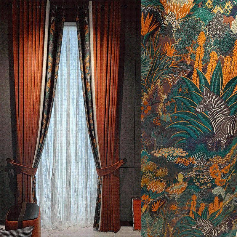 Clássico nobre chenille europeu luxo costura vermelha planta zebra blackout requintado cortinas para sala de estar cortina de quarto cortina