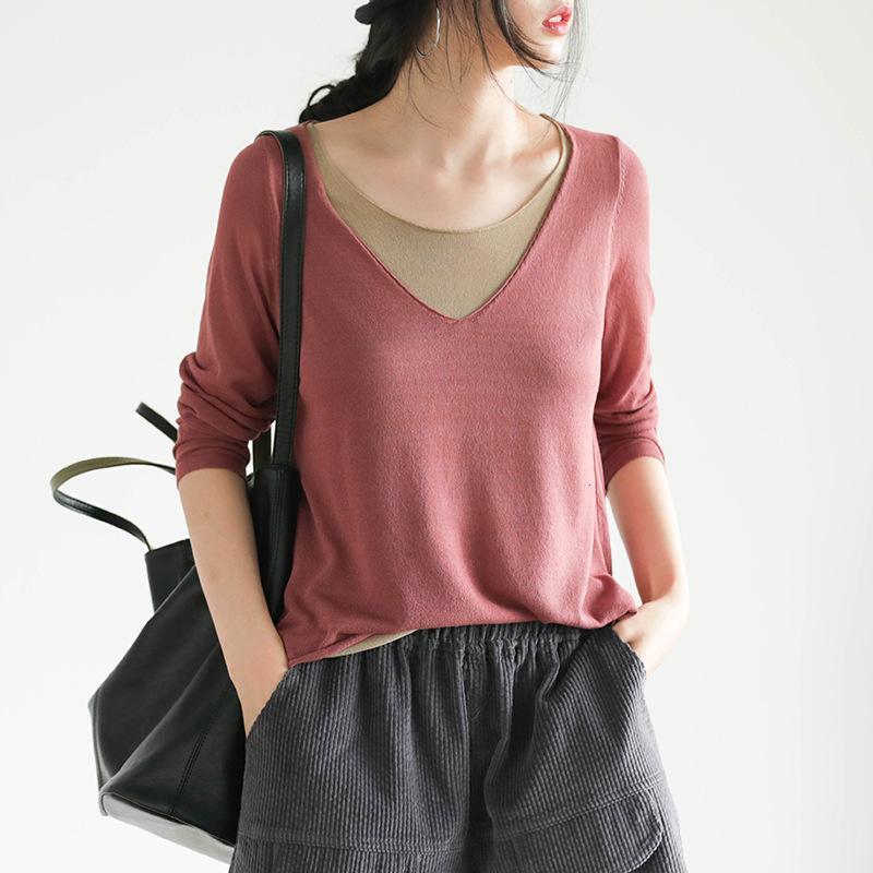 19 Antigos Arte Outono Double Collar Knitting Falso Dois Soltos e Versátil Manga Longa T-shirt Para As Mulheres