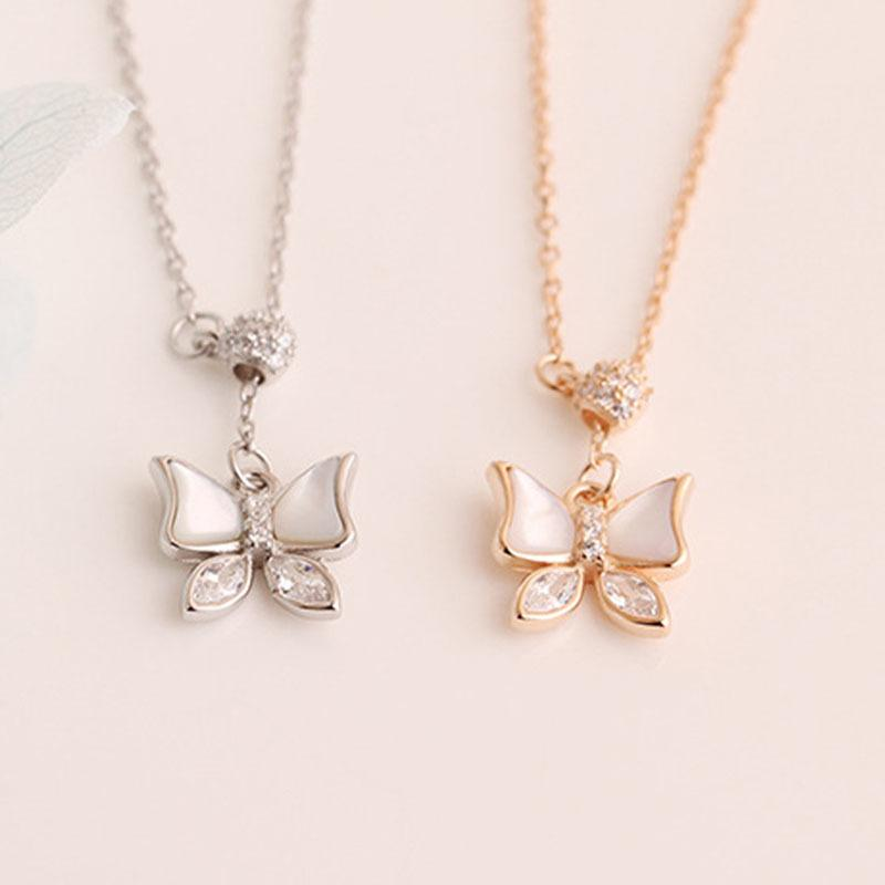 Silver Real 925 Necklaces Women Chains Vintage Jewelry Pendants Undefined Fashion Luxury Goth Sterling Zircon Shining Butterfly