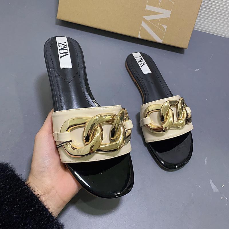 여름 스타일 한국 패션 트렌드 플랫 신발 여성 베이지 색 샌들 원 단어 슬리퍼