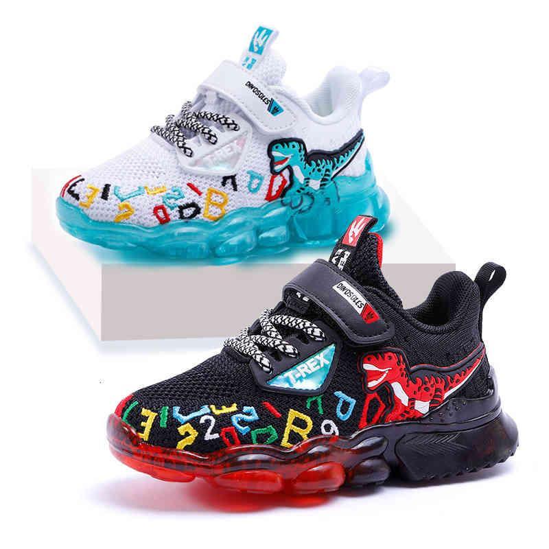 2021 Mesh Children's Casual Light Up T-Rex Boys Sneakers Deporte Tenis Deporte Entrenadores Niños Primavera Brillante Zapatos para niños pequeños