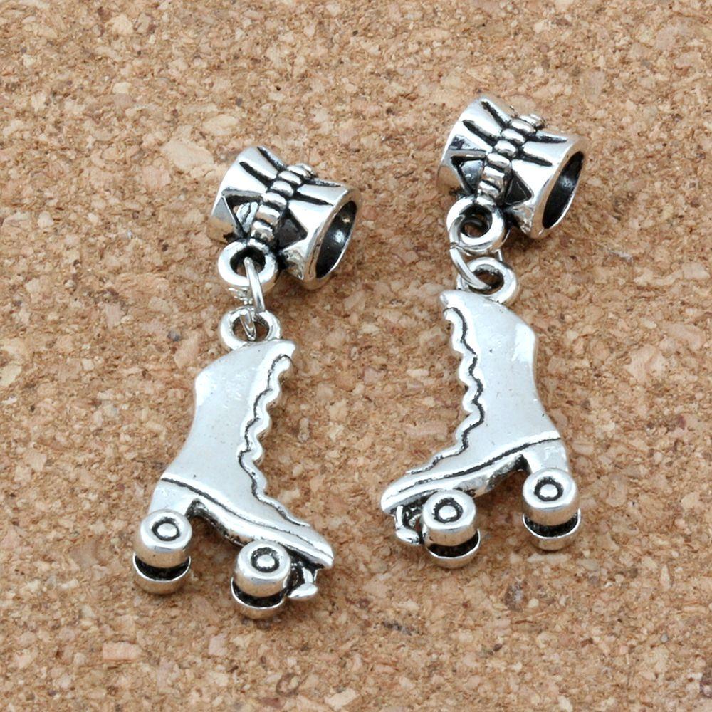 50pcs / lot antique argent 3D rouleau de rouleaux de patins de patins de gros trou pour bijoux fabrication de bracelet Collier constatations 11.5x32.5mm A-118A