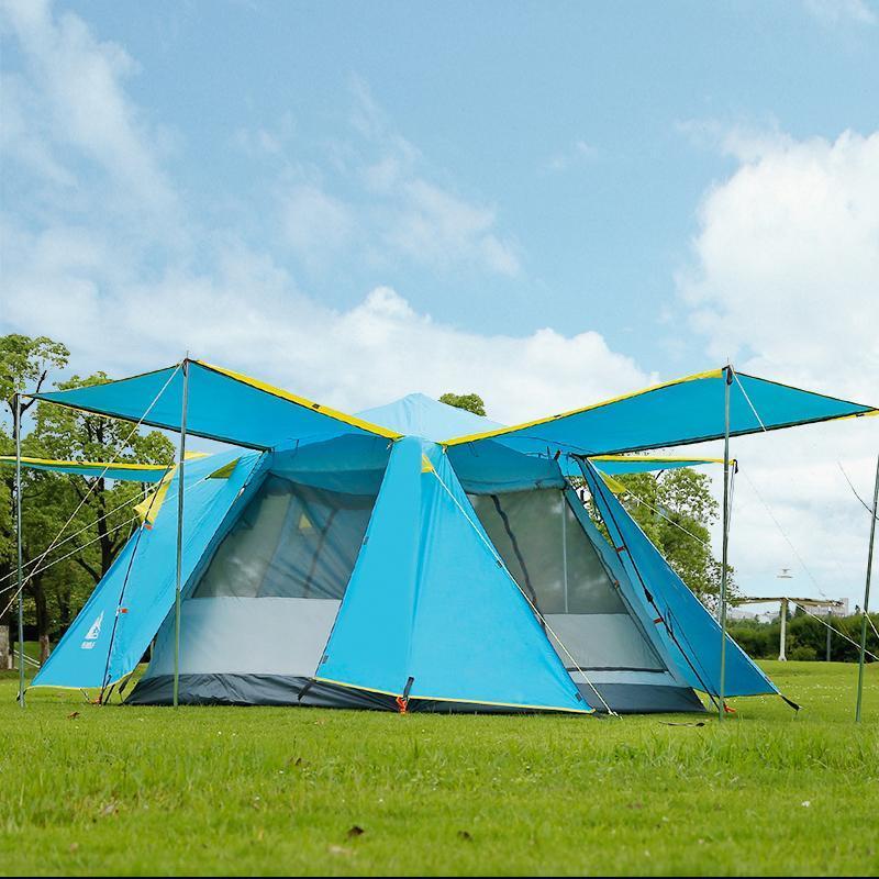 Hewolf 4-5 человек Автомат для кемпинга Палатка 1 спальня + 2 гостиной открытый туризм самостоятельно вождение двойной слой водонепроницаемый семейный Teeeeee