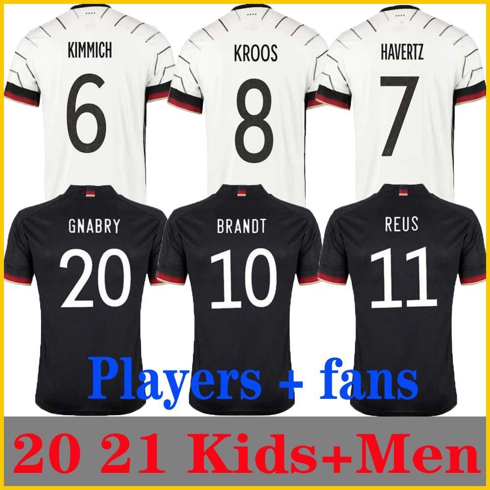 플레이어 버전 2020 2021 독일 축구 유니폼 TAH Gundogan Hummels Gnabry Werner Kroos 20 21 Kimmich Maillot 드 발 축구 Reus Brandt Havertz Men + Kids