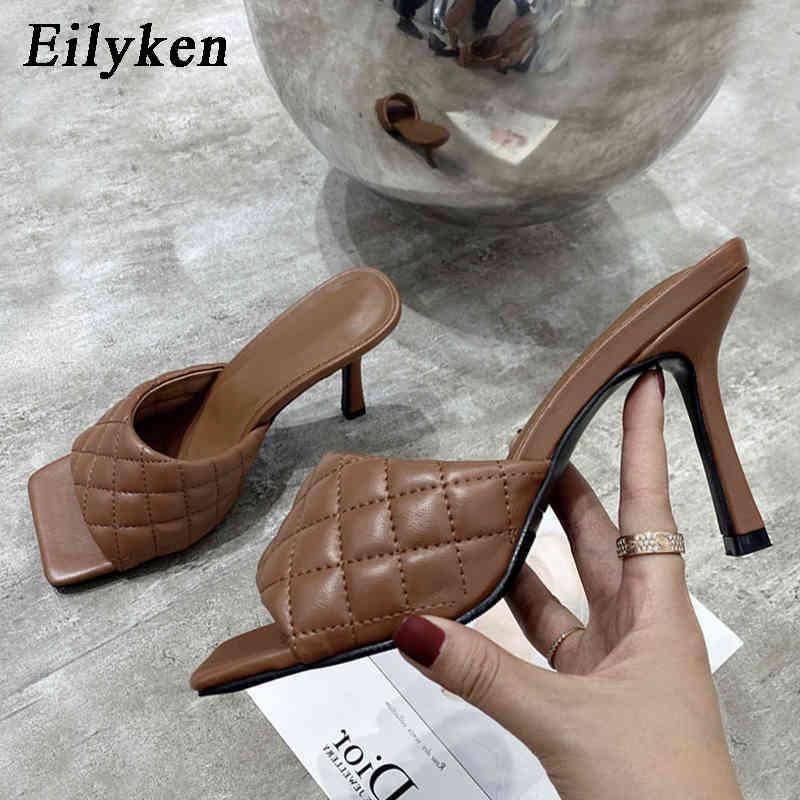 Eilyken Frauen Maultiere Sommer Hausschuhe Mode Hohe Qualität Sandalen Sandalen Damen Design Quadratische Zehe Stiletto Fersen Hochzeit Schuhe 210423