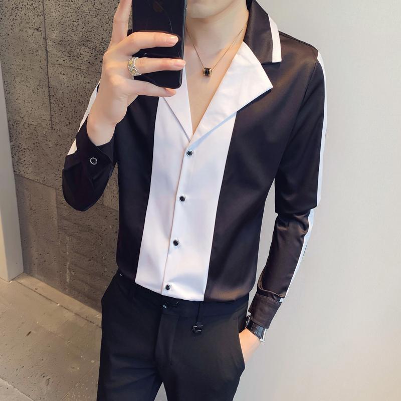 블랙 / 화이트 간단한 긴 소매에 대한 스플케이션 된 디자인 셔츠 남성 의류 2021 봄 슬림 피트 캐주얼 신사 턱시도 드레스 3XL 남자