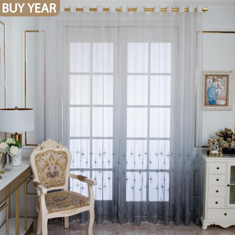الستار الستائر الرجعية الستائر المعيشة غرفة الطعام غرفة نوم النمط الأوروبي التدرج التطريز النبات حلم تول الفرنسية نافذة