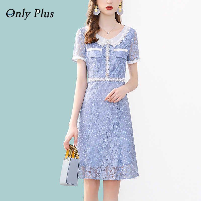Nur plus blaue Spitze Aushöhlen Kleid Peter Pan Collar Casual Sweet Little Chap Sommer Casual Polka Dot Spitze Kleider Knie 210603