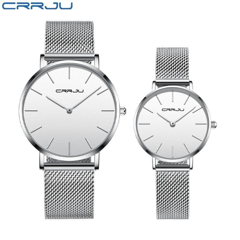 Relojes de moda 2021 Crrju Women Love's Luxury Slim Quartz Mesh Reloj para hombres Casual Impermeable Damas Gift Elegant Gift Wrkwatches