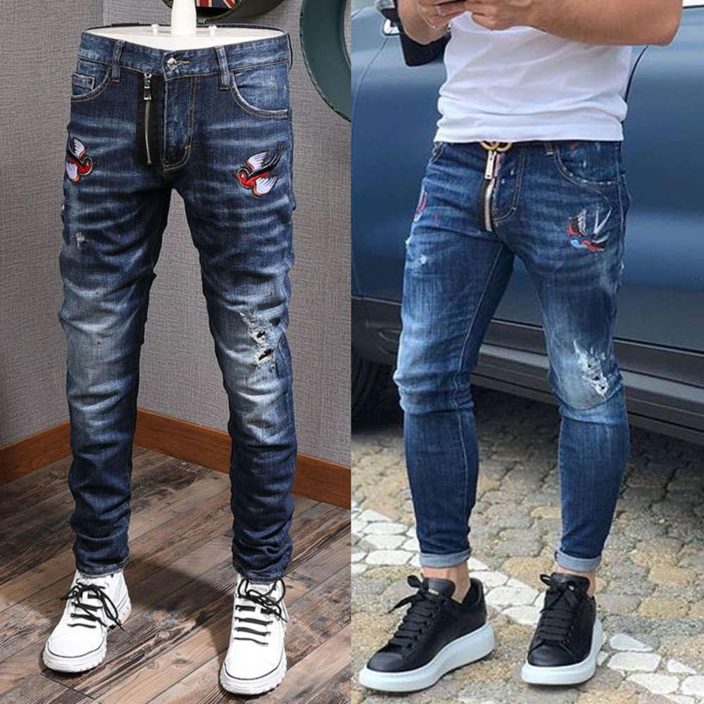 Cooler Kerl Biker Jeans Bleichmittel Beunruhigte Farbe Vogel Patch Akzent Beschädigte Slim Fit Cowboy Hose Männer