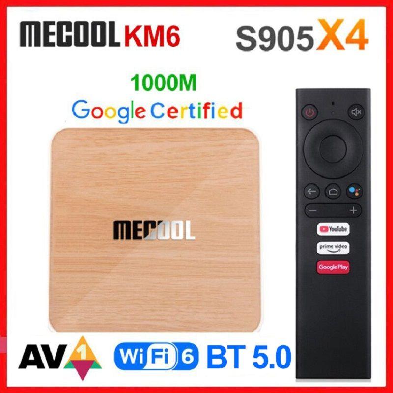 MECOOL KM6 4GB 32GB ATV Android 10 TV Box Amlogic S905X4 AndroidTV 10.0 جوجل معتمدة المزدوج واي فاي 6 1000M مشغل الوسائط