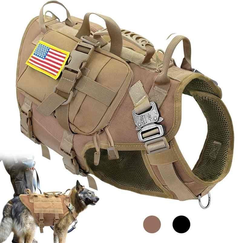 Harnais de chien tactique militaire sans traction Harnais pour animaux de compagnie Gilet pour les gros chiens de taille moyenne Formation Randonnée Harnais de molle Dog avec poches 210729