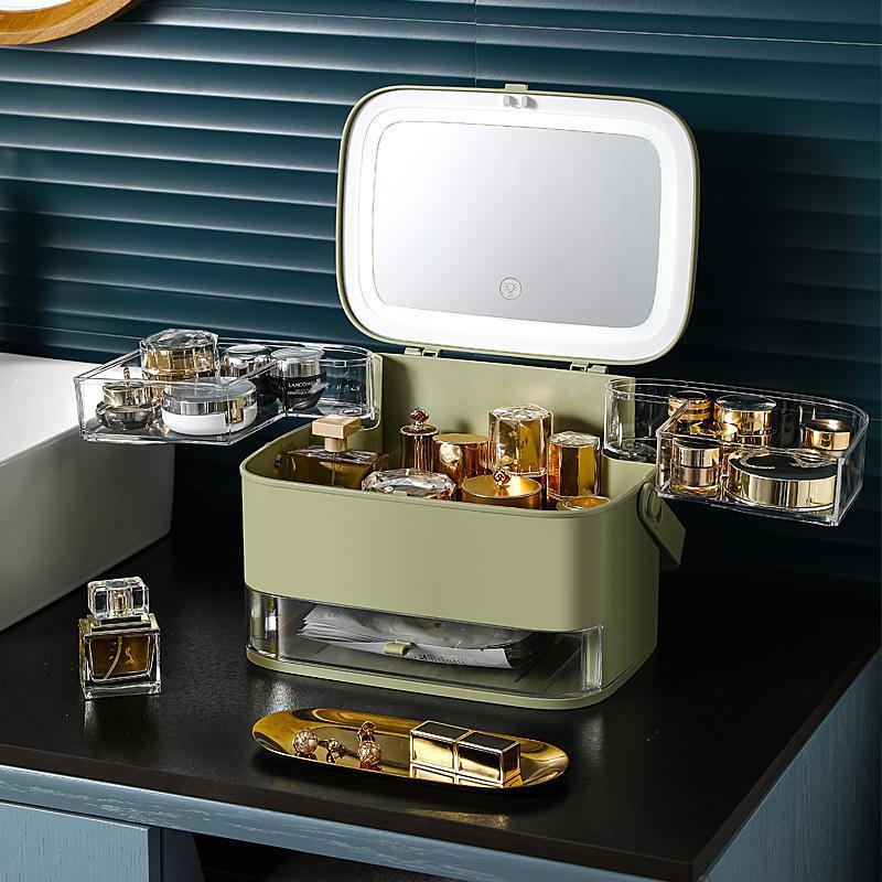 Caixa de armazenamento cosmético com espelho Desktop Maquiagem Organizador Grande Capacidade Dobroso Caixas De Beleza Caixas De Beleza