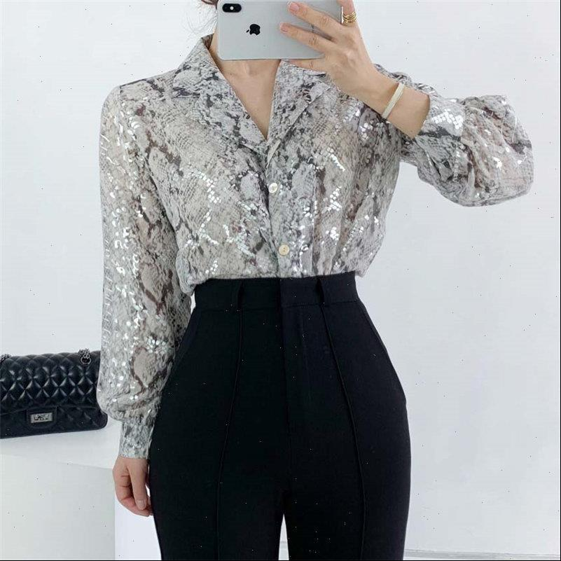 All Match Elegant Casual Silvery Womens Shirt Sequins Shinny Large Size Office Lady Top Blouses OL Loose High Street Women