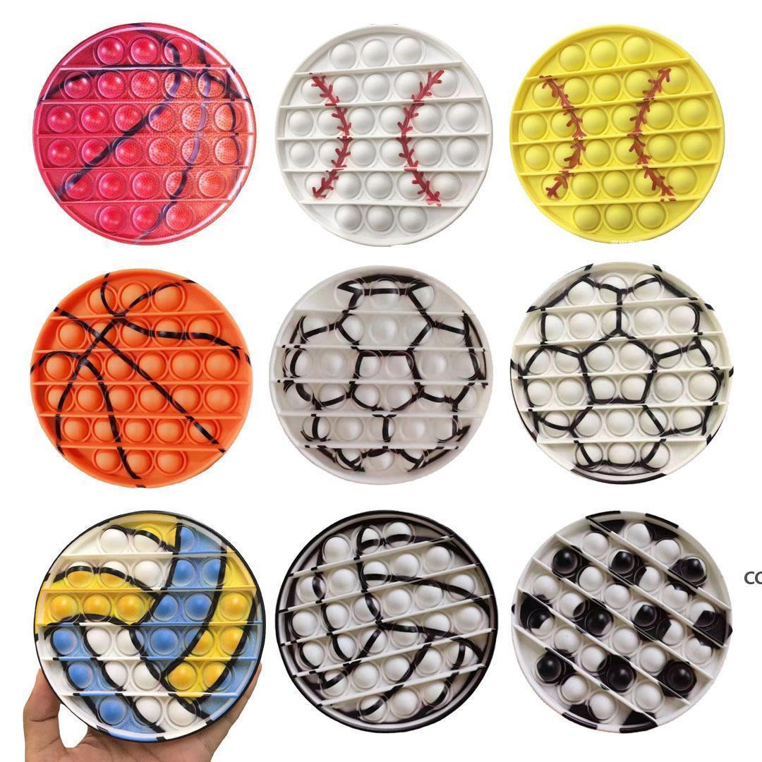 新しい形の野球サッカーバレーボールバスケットボールプッシュフィジットおもちゃ子供かカワイイディンプルフィジットおもちゃ子供の乗り物のバブルおもちゃ