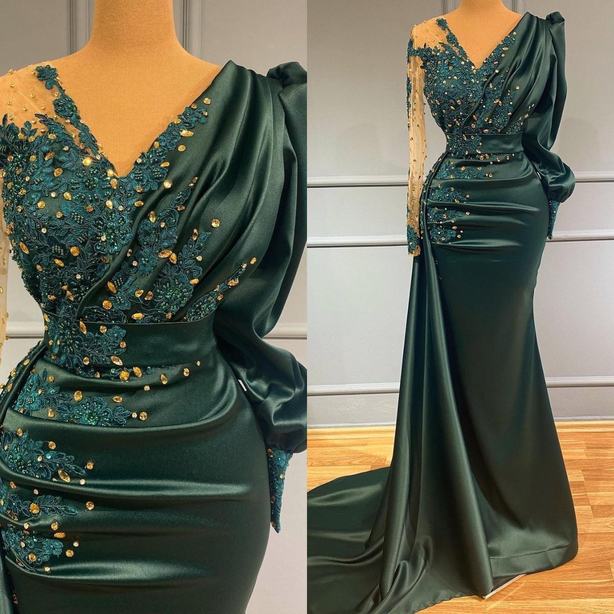 Superbes robes de bal sirène vert foncé Crystals perles V cou à manches longues robes de soirée robe de soirée robe de soirée spéciale robe de soalee