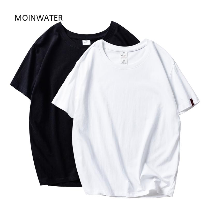 Moinwater Yeni Kadın T Shirt 2 Adet / Paket Katı Rahat 100% Pamuk Rahat T-Shirt Lady Tees Kısa Kollu Tops 210312