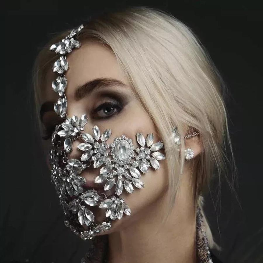 Diamante exagerado Halloween Cristal Mascarada Mascarada Accesorios de fiesta RQO