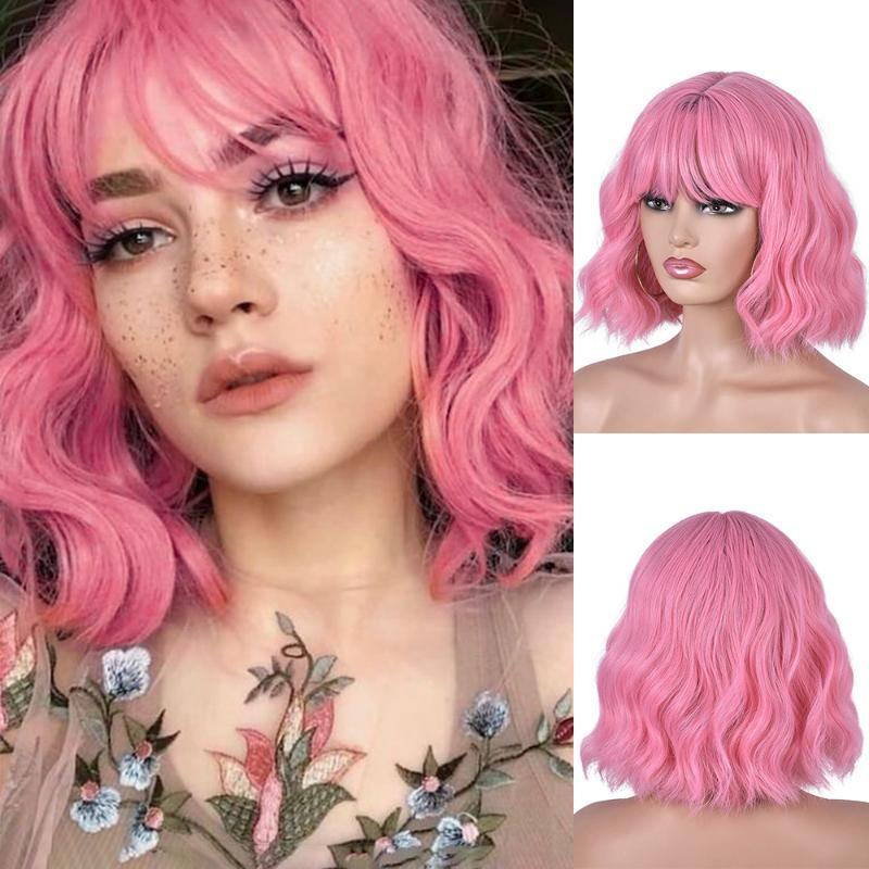 Parrucche sintetiche brevi ondulate per le donne nere Parrucca rosa afroamericana rosa con Bangs Natural resistente al calore Cosplay Annivia
