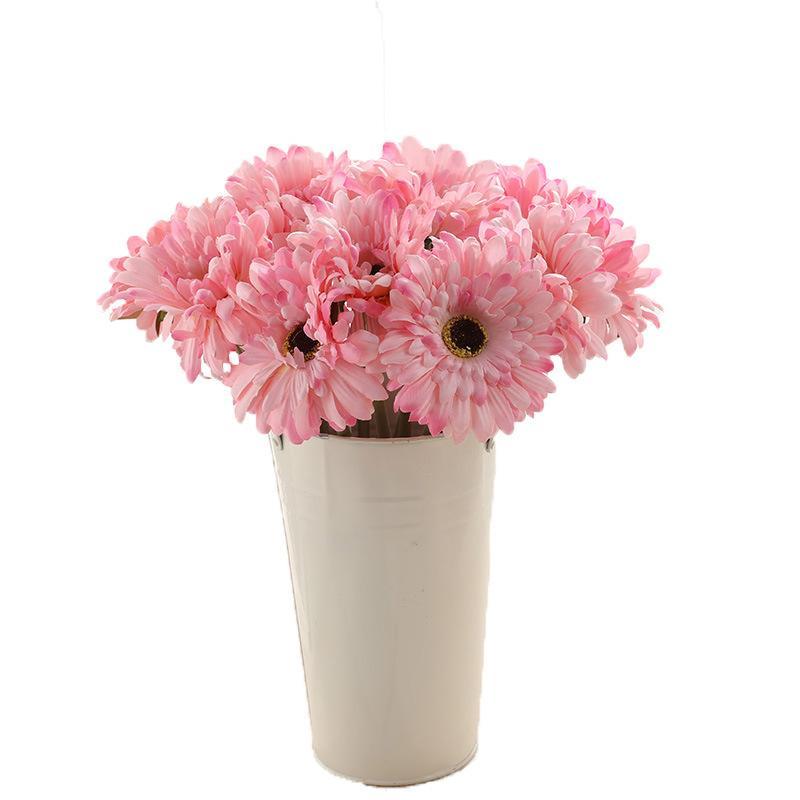 Künstliche kleine Seide Gerbera Blumenköpfe Einzelne Stamm Gänseblümchen Bunte Blumen Dekoration Multi Farben