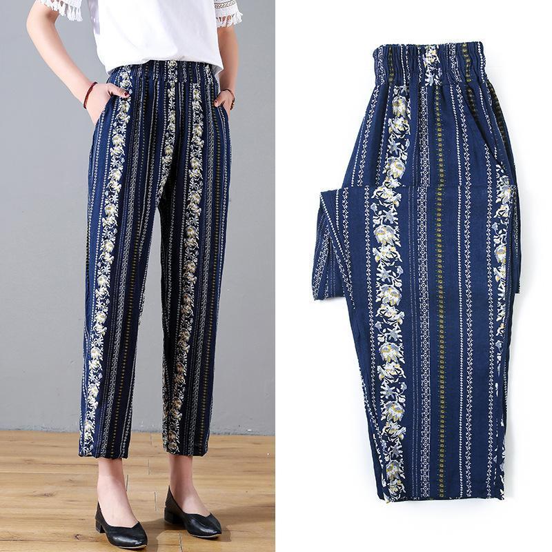 Kadın Pantolon Capris Harem Yüksek Bel Gevşek Düz Dokuz Bayanlar Rahat Pantolon Kadın Slacks Pantolon Yaz Kadın Streetwear
