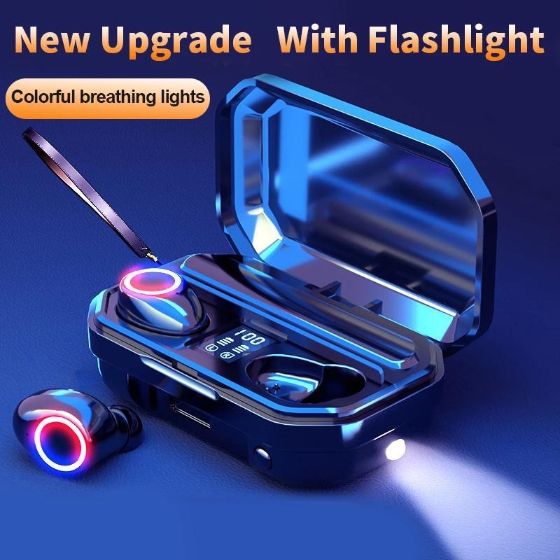 Bluetooth наушники беспроводных наушников сенсорное управление светодиодом с микрофоном спортивные водонепроницаемые наушники наушники для смартфонов