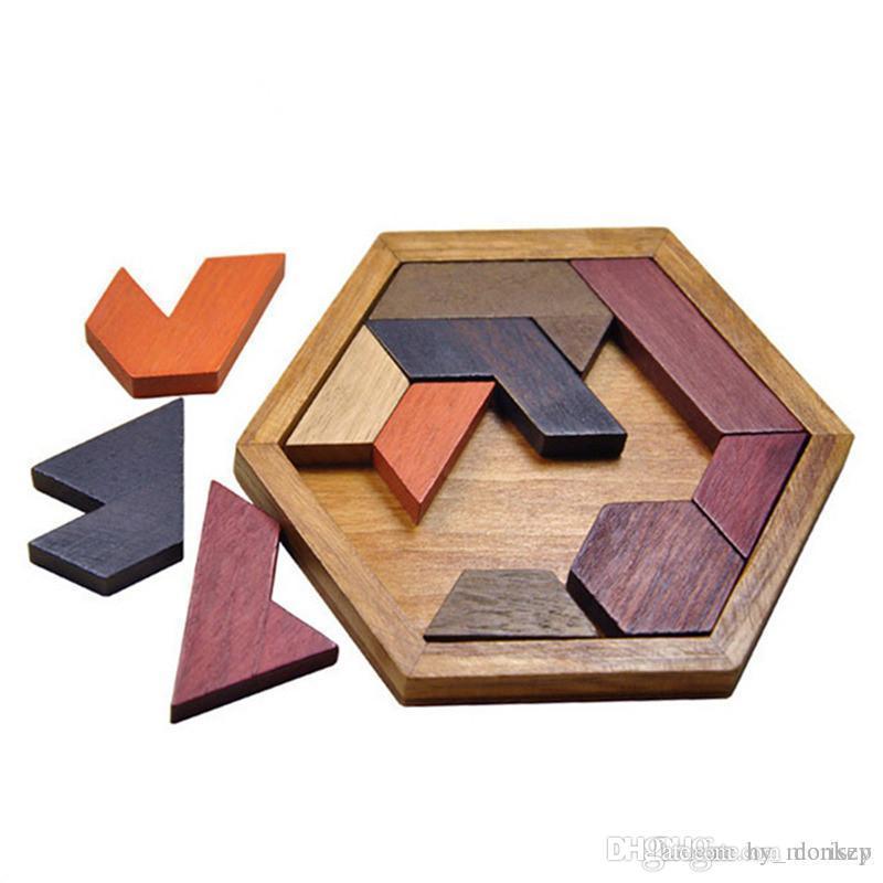 Kids Puzzles Wooden Toys Tangram/Jigsaw building blocks Board Wood Geometric Shape P Children Educational Toys Christmas gift