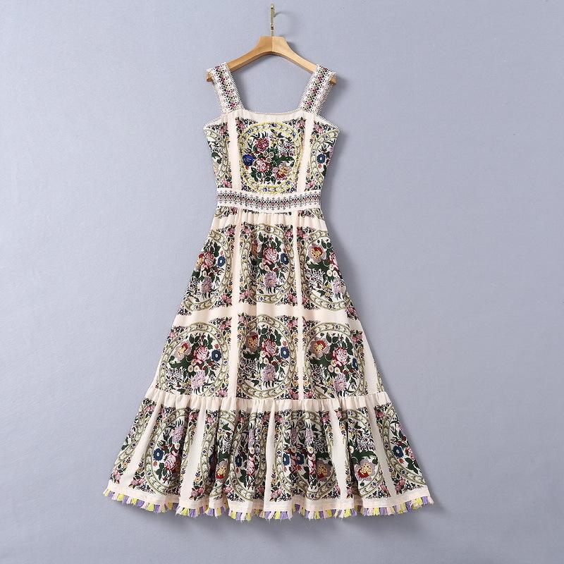 Avrupa ve Amerikan kadın Yaz Elbiseler Renk Saçaklı Pamuk Keten Baskı El Yapımı Sequins Elmas Sling Kemer Ağır Sanayi Boncuklu Moda Çiçek Elbise